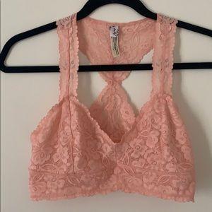 Free People Racerback Bra Pink M lace bralette